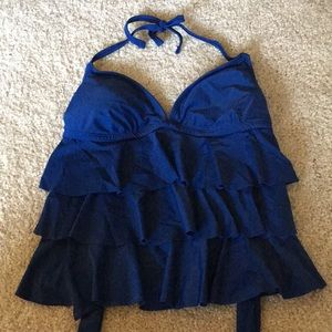 Padded ruffle swim top